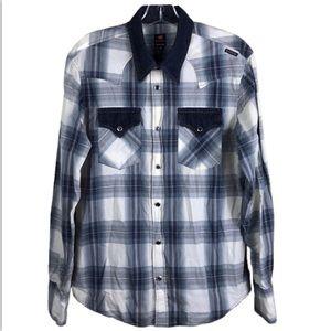 Energie Western Plaid Snap Button Denim Shirt Med